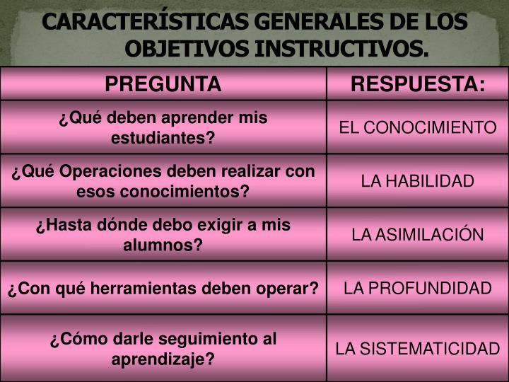 CARACTERÍSTICAS GENERALES DE LOS OBJETIVOS INSTRUCTIVOS.