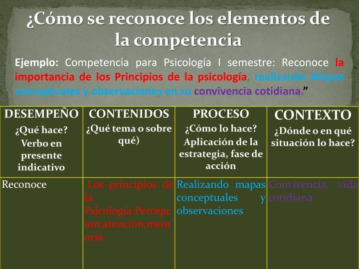 ¿Cómo se reconoce los elementos de la competencia