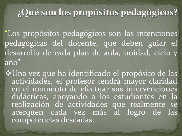 ¿Qué son los propósitos pedagógicos?