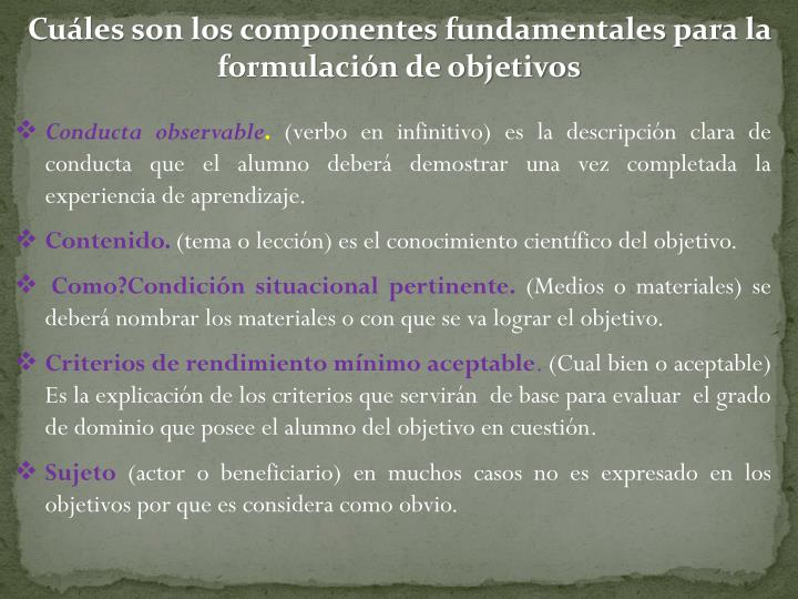 Cuáles son los componentes fundamentales para la formulación de objetivos