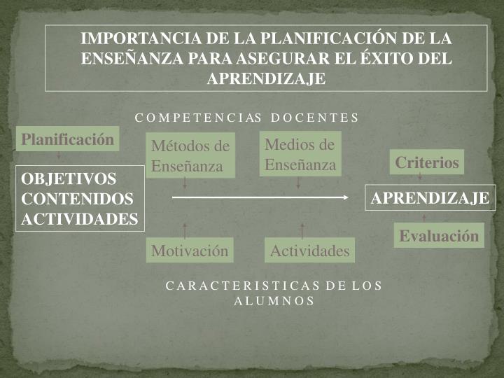 IMPORTANCIA DE LA PLANIFICACIÓN DE LA ENSEÑANZA PARA ASEGURAR EL ÉXITO DEL APRENDIZAJE