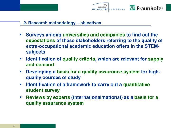 2. Research methodology – objectives