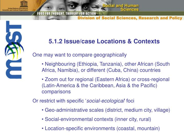 5.1.2 Issue/case Locations & Contexts