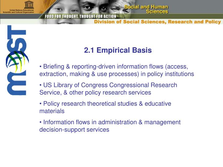 2.1 Empirical Basis