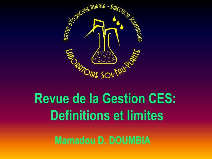 Revue de la Gestion CES: