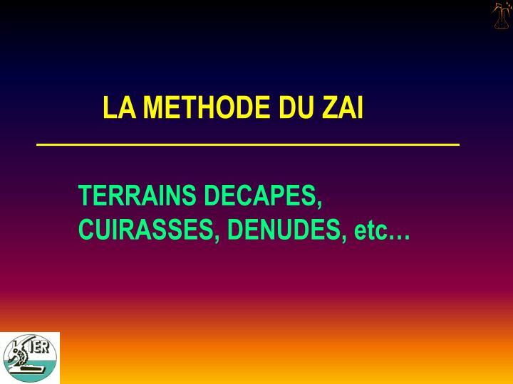 LA METHODE DU ZAI