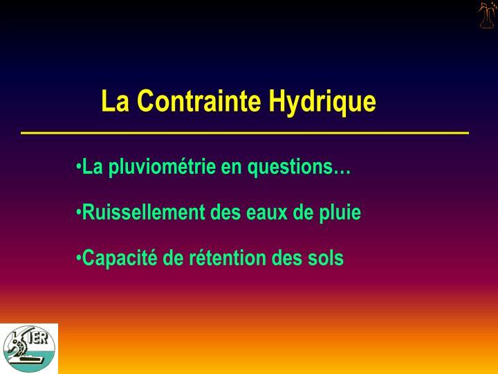 La Contrainte Hydrique
