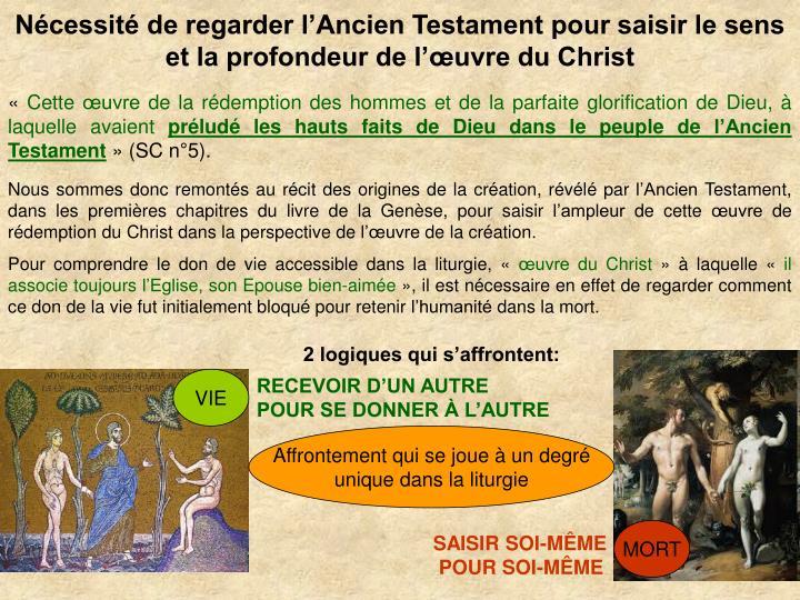 Ncessit de regarder lAncien Testament pour saisir le sens et la profondeur de luvre du Christ