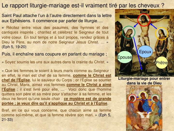 Le rapport liturgie-mariage est-il vraiment tir par les cheveux ?