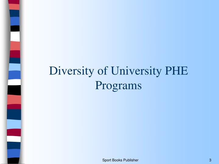 Diversity of university phe programs