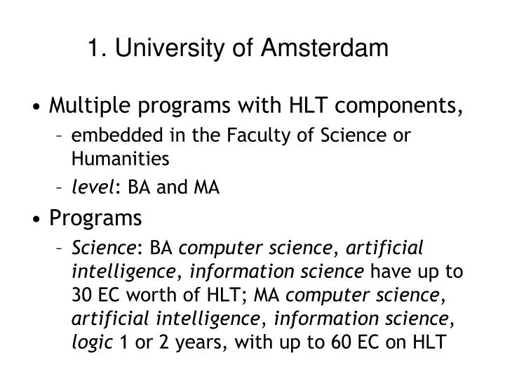 1. University of Amsterdam