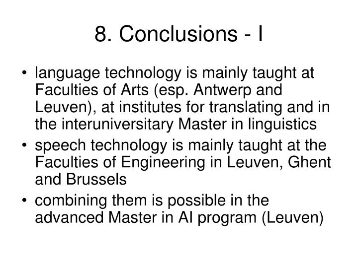 8. Conclusions - I