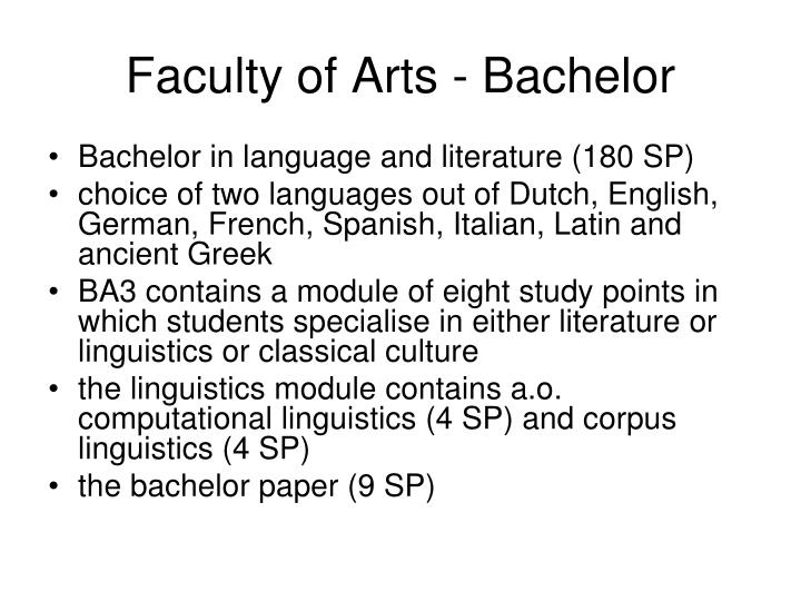 Faculty of Arts - Bachelor