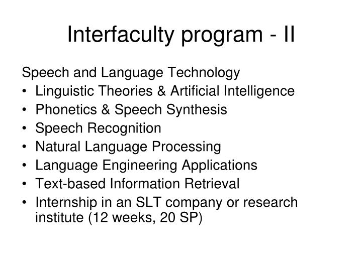 Interfaculty program - II