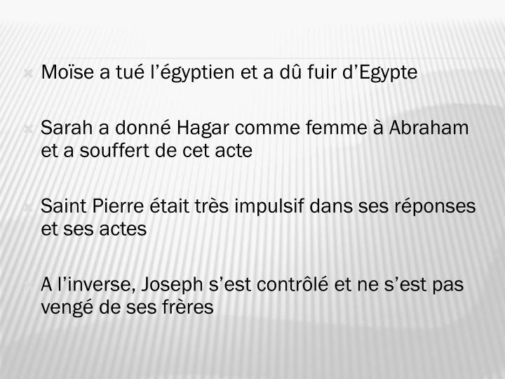 Moïse a tué l'égyptien et a dû fuir d'Egypte