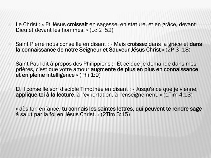 Le Christ: «Et Jésus