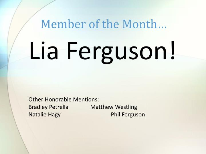 Member of the Month…