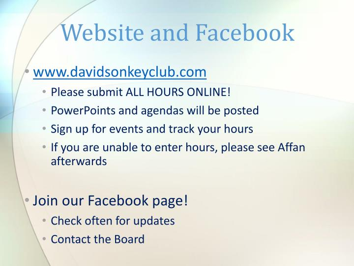 Website and Facebook