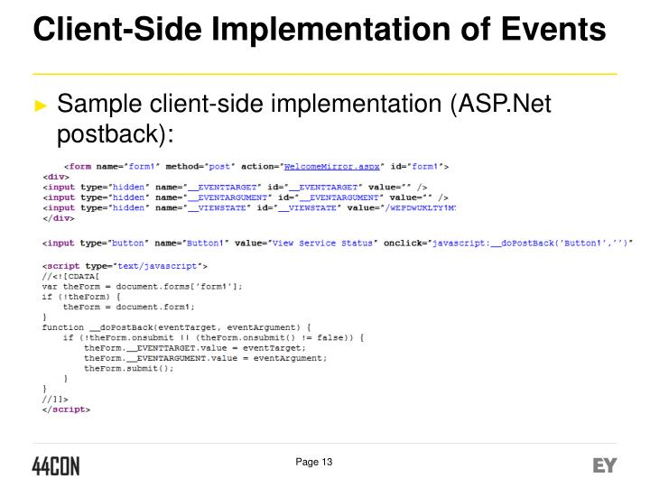 Client-Side Implementation of Events