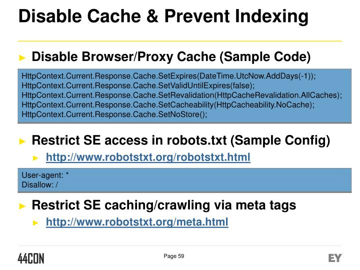 Disable Cache & Prevent Indexing