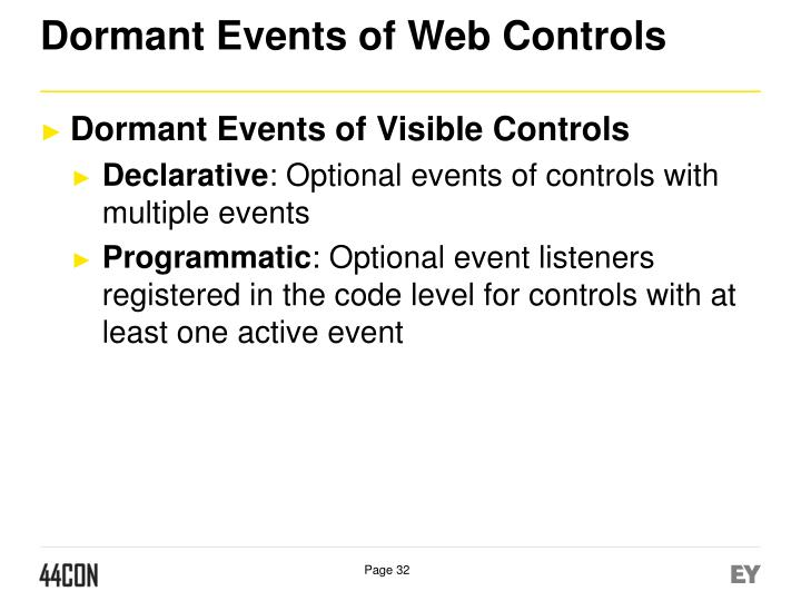 Dormant Events of Web Controls