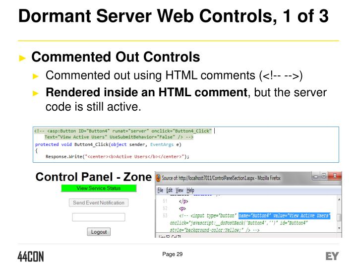 Dormant Server Web Controls, 1 of 3