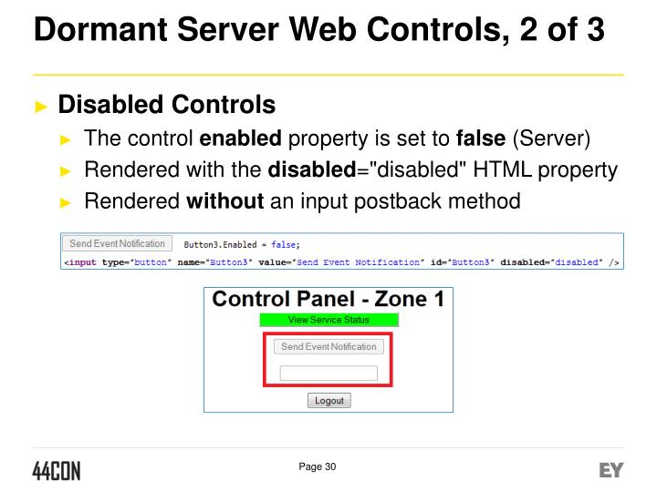 Dormant Server Web Controls, 2 of 3