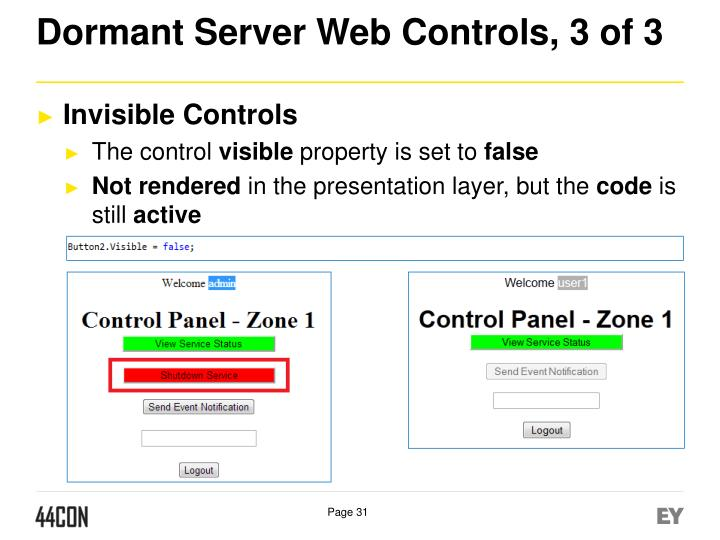 Dormant Server Web Controls, 3 of 3