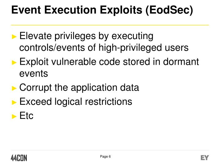Event Execution Exploits (