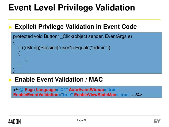 Event Level Privilege Validation