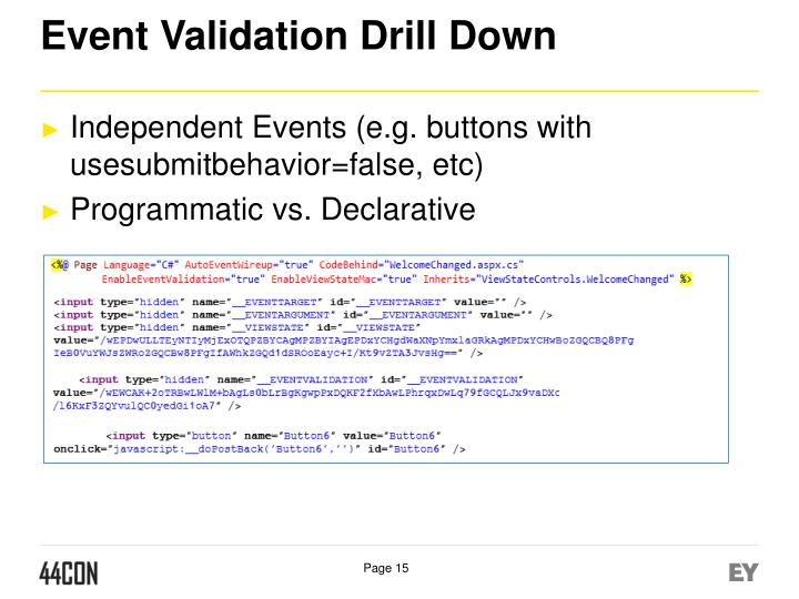 Event Validation Drill Down
