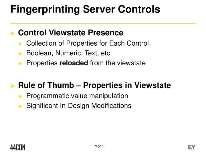 Fingerprinting Server Controls