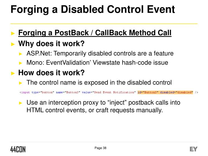 Forging a Disabled Control Event