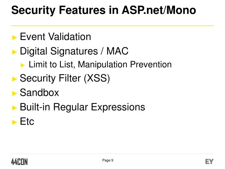 Security Features in ASP.net/Mono