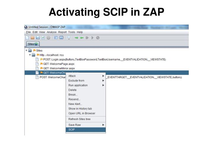 Activating SCIP in ZAP