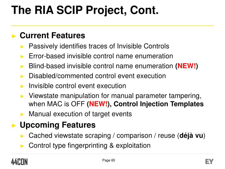 The RIA SCIP Project, Cont.
