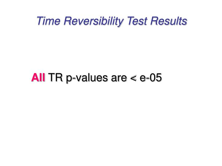 Time Reversibility Test Results