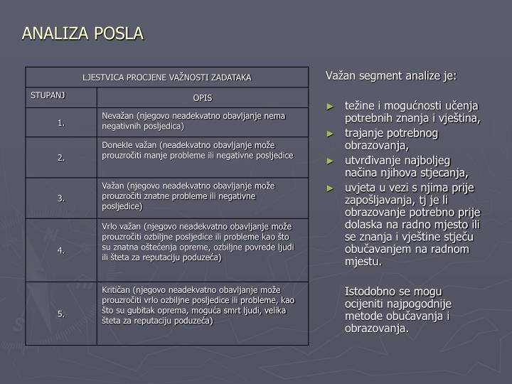 ANALIZA POSLA
