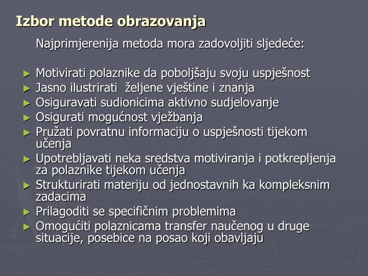 Izbor metode obrazovanja