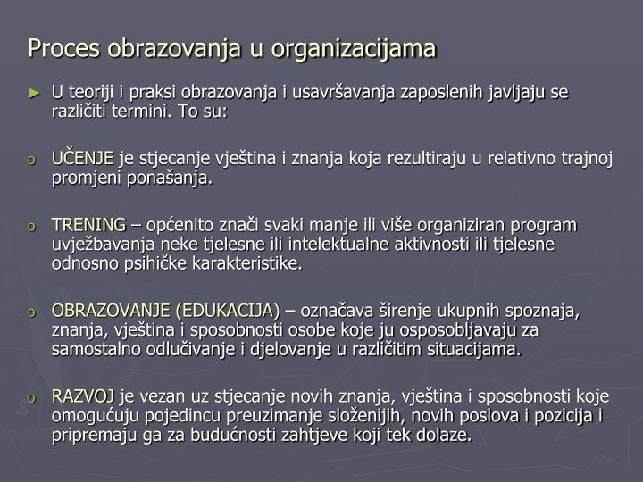 Proces obrazovanja u organizacijama