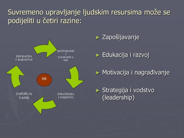 Suvremeno upravljanje ljudskim resursima može se podijeliti u četiri razine: