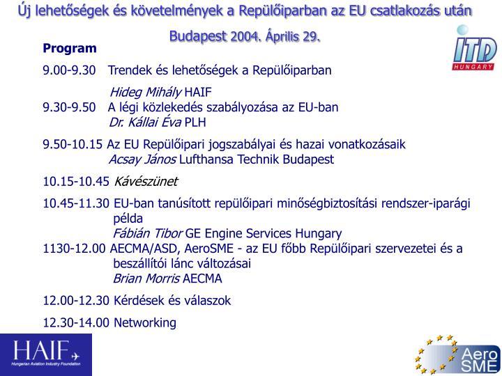 Új lehetőségek és követelmények a Repülőiparban az EU csatlakozás után