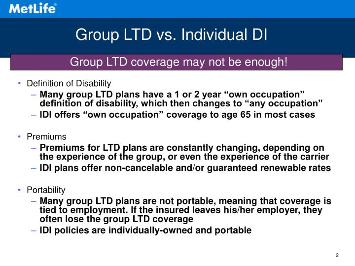 Group LTD vs. Individual DI