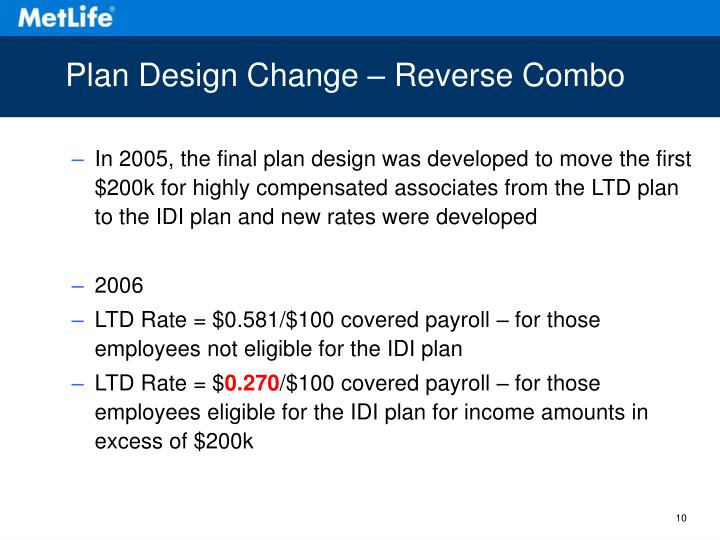 Plan Design Change – Reverse Combo