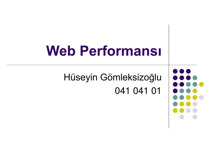 Web performans