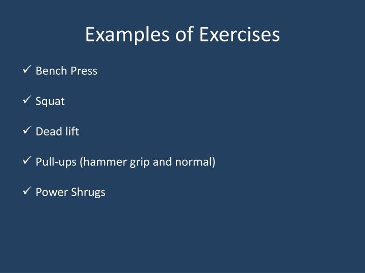 Examples of Exercises