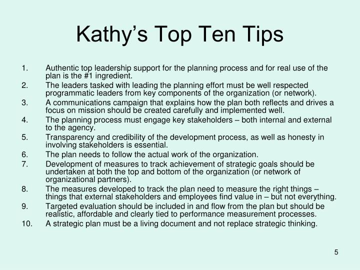 Kathy's Top Ten Tips