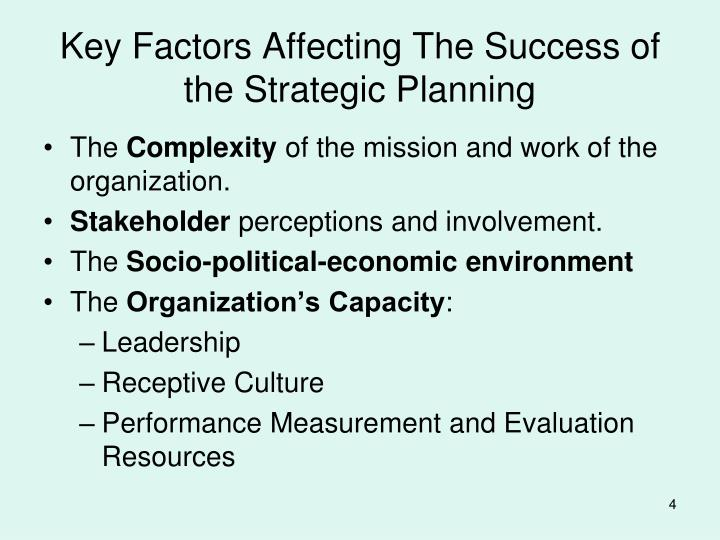 Key Factors Affecting The Success of the Strategic Planning