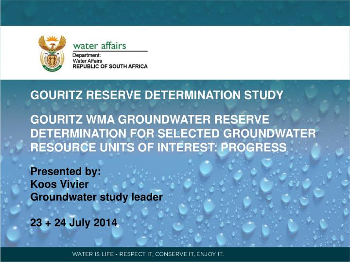 GOURITZ RESERVE DETERMINATION STUDY
