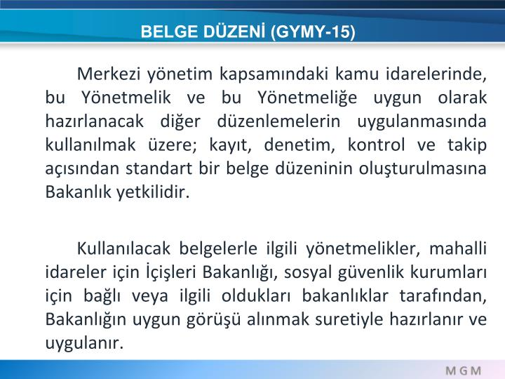 BELGE DÜZENİ (GYMY-15)